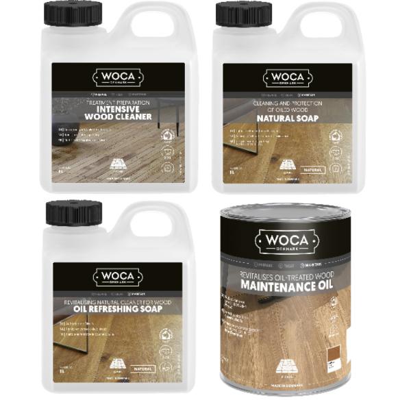 WOCA Holzbodenseife | Öl-Refresher | Intensivreiniger | Pflegeöl 1.0L Pflege - Set